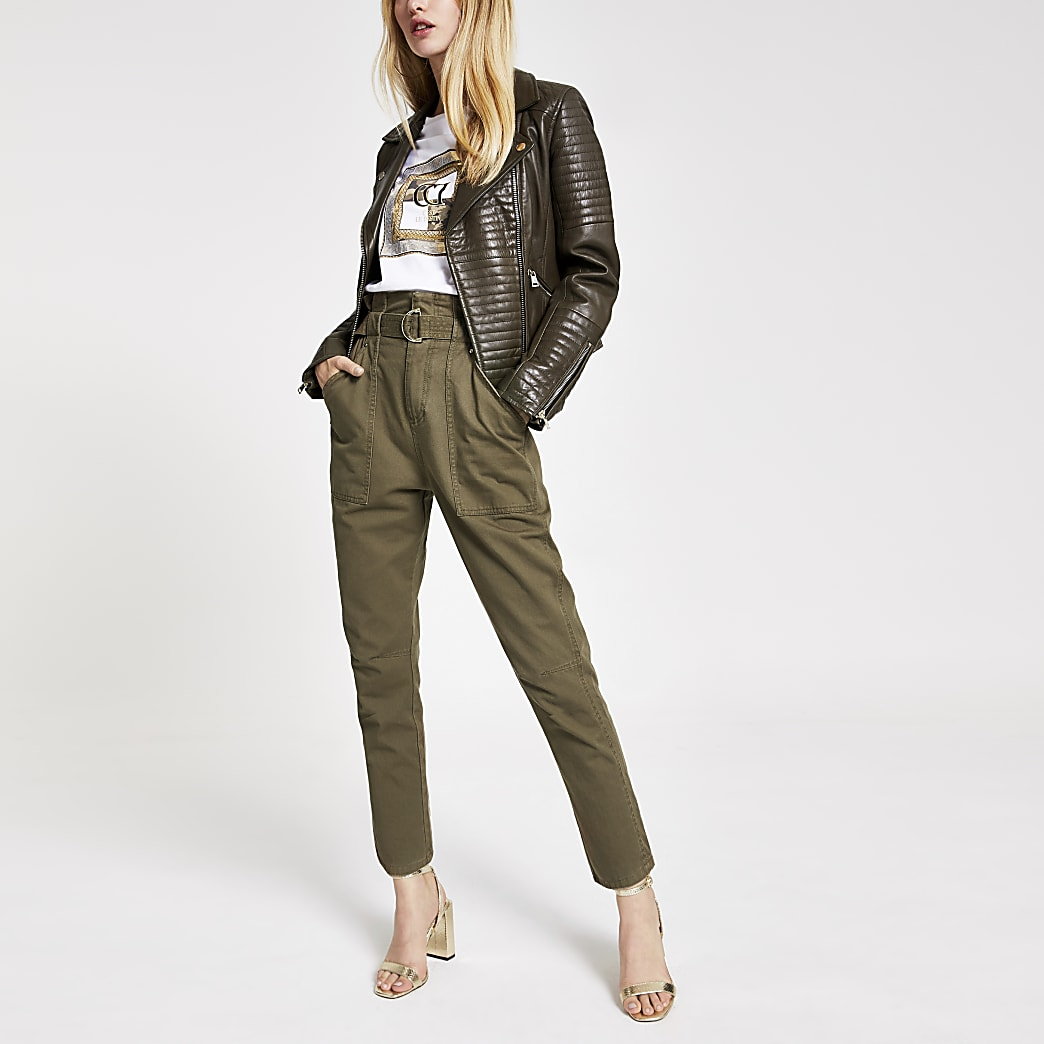 Khaki leather biker jacket