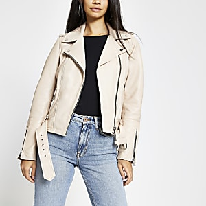 Light pink leather belted biker jacket