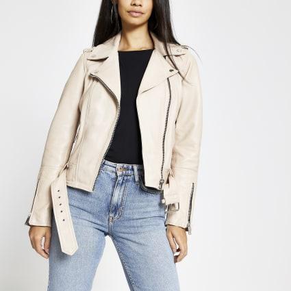 Light pink leather belted biker jacket