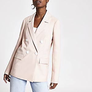 Pink double breasted blazer