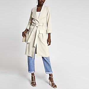 Cream tie waist utility duster jacket