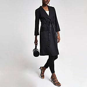 Black tie waist utility duster jacket