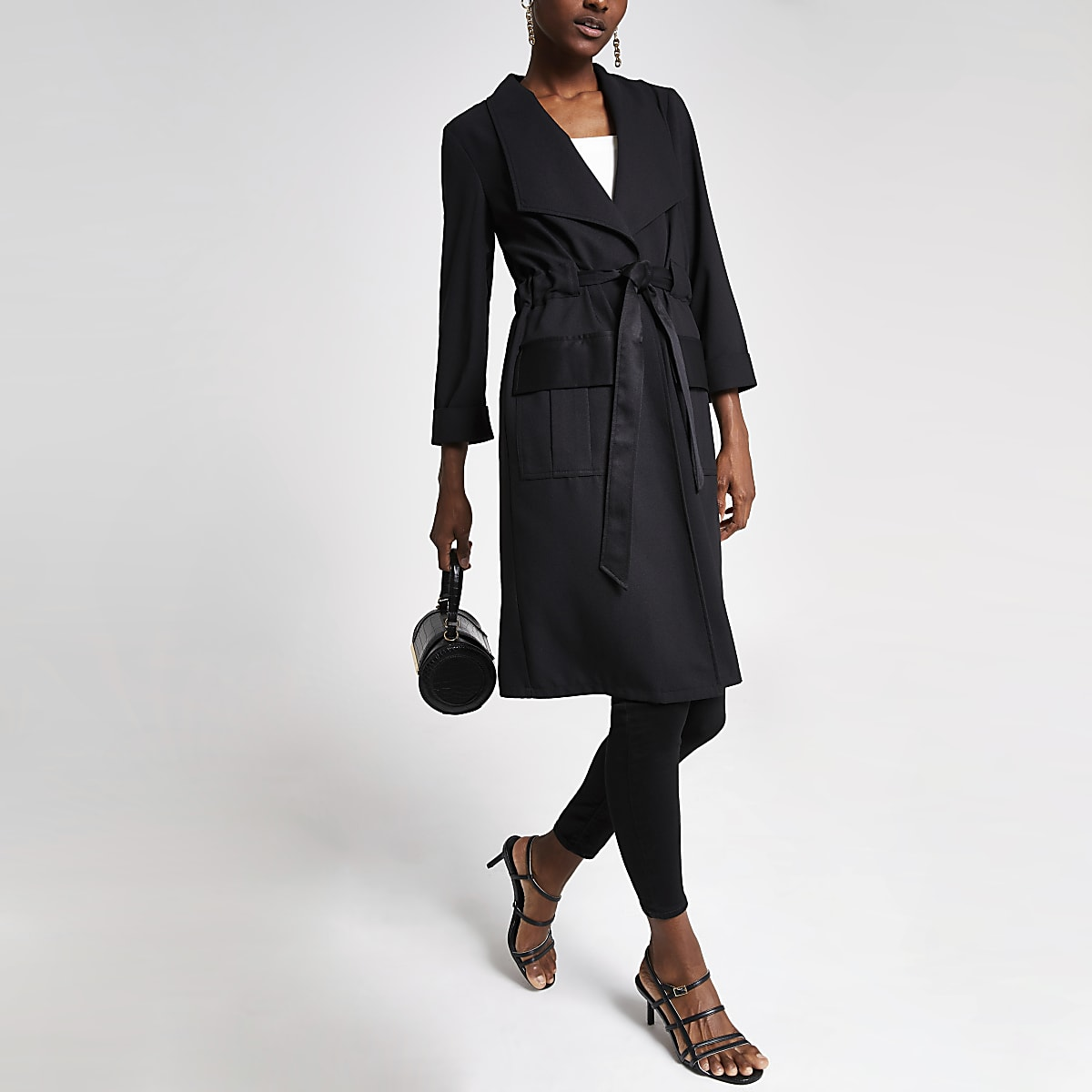 Black tie waist utility duster jacket