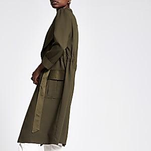 Khaki tie waist utility duster jacket