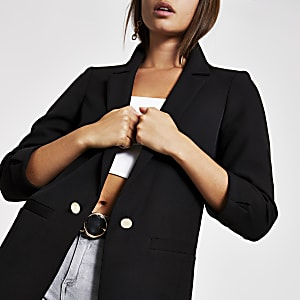 Black rolled up sleeve blazer