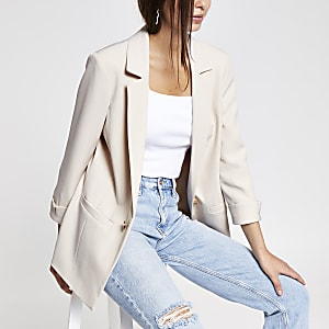 Cream rolled up sleeve blazer