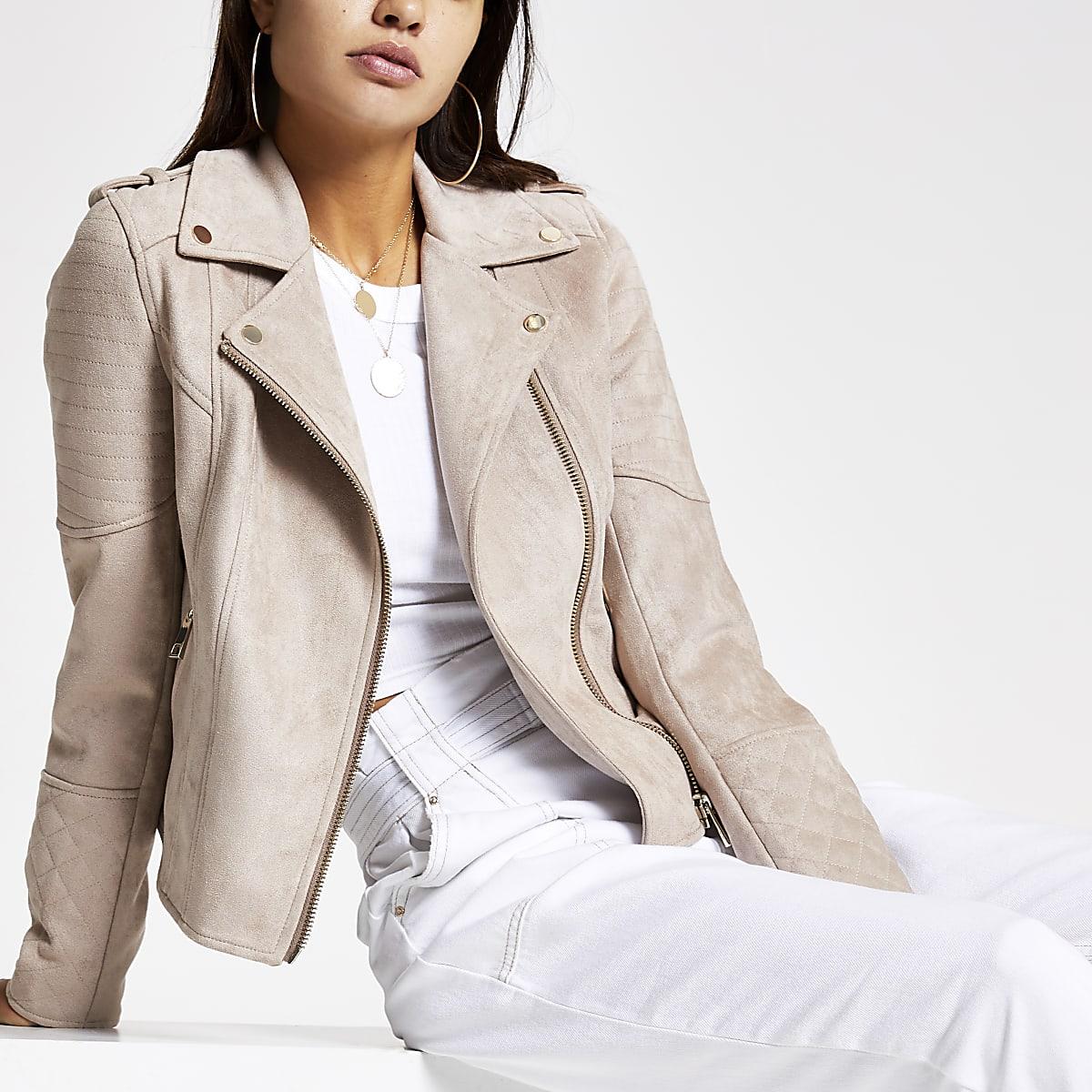 Light brown suede biker jacket