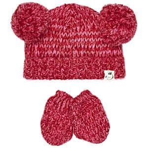 Mini girls dark pink pom hat and mitten set