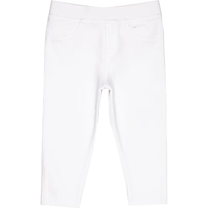 Mini girls white denim look leggings