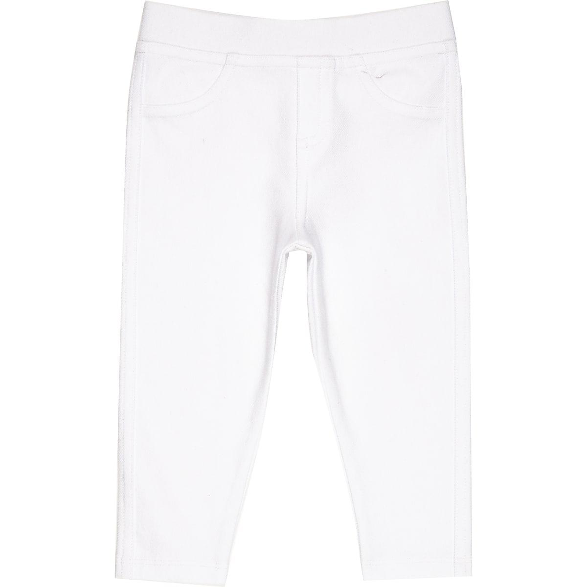 Witte leggings met denimlook voor mini girls