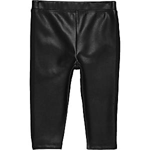 Schwarze Leggings im Leder-Look