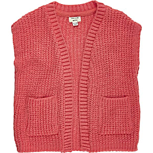 Mini girls knitted sleeveless jacket