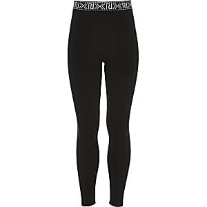 Girls black branded leggings