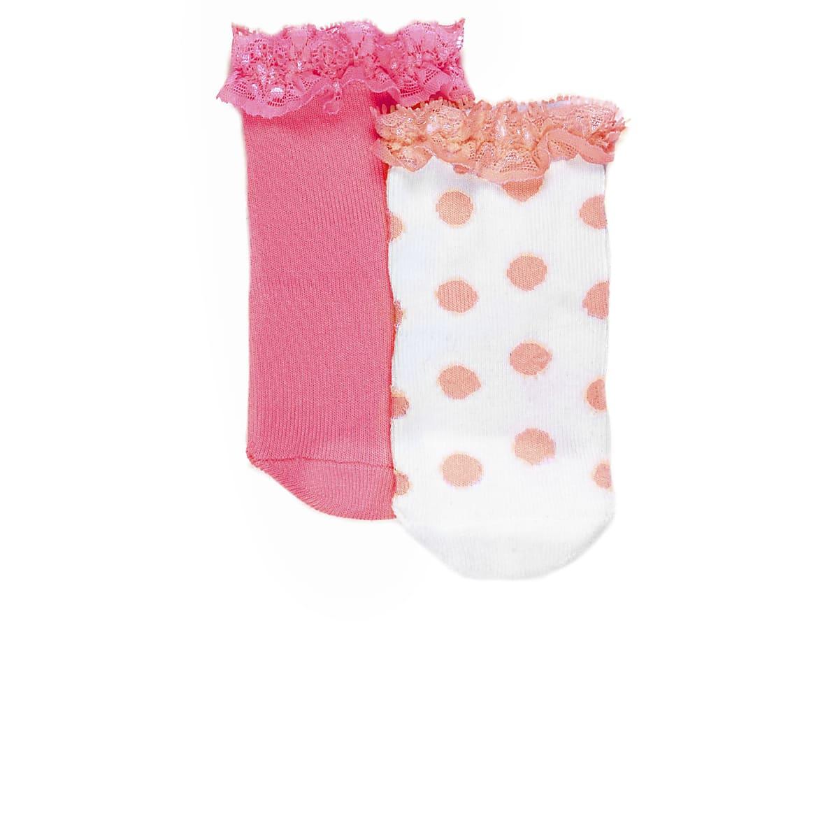 Mini girls fluro coral socks multipack