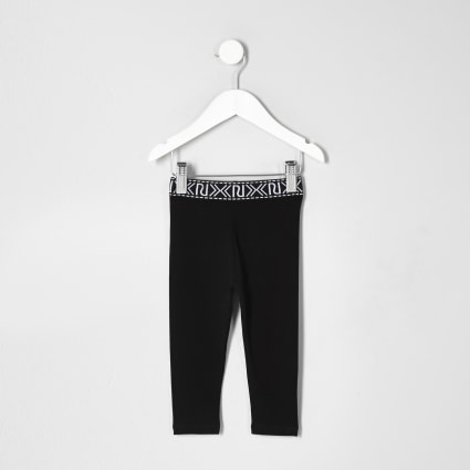 Mini girls black branded leggings