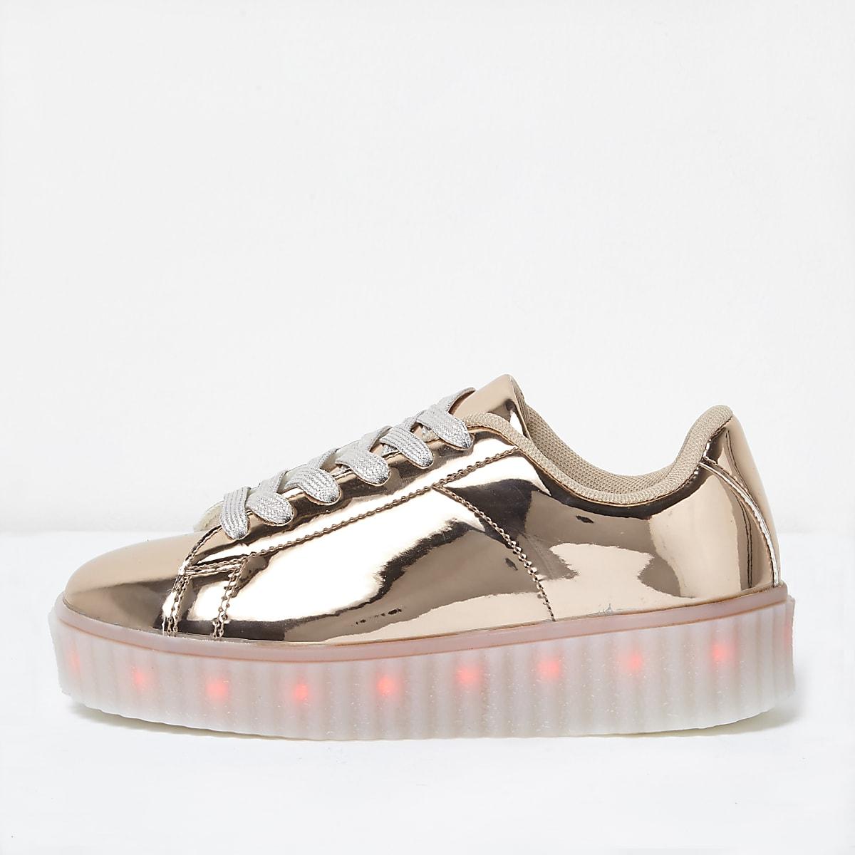 Girls rose gold LED flashing trainer