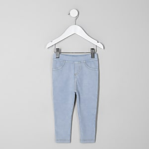 Mini girls light wash denim look leggings