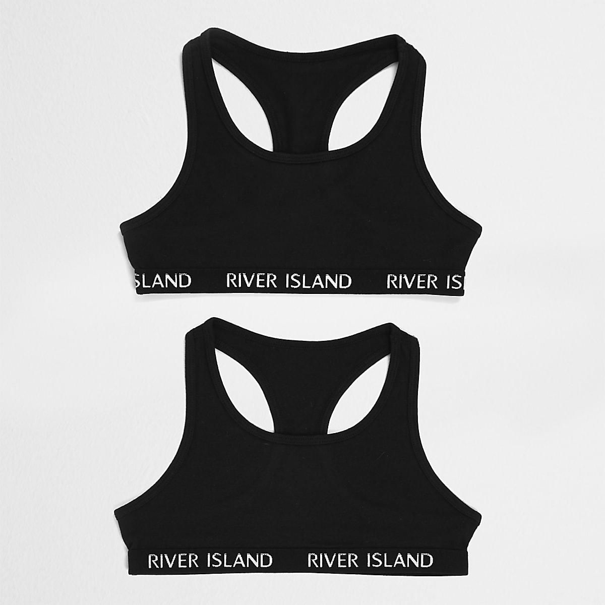 Girls black crop top pack