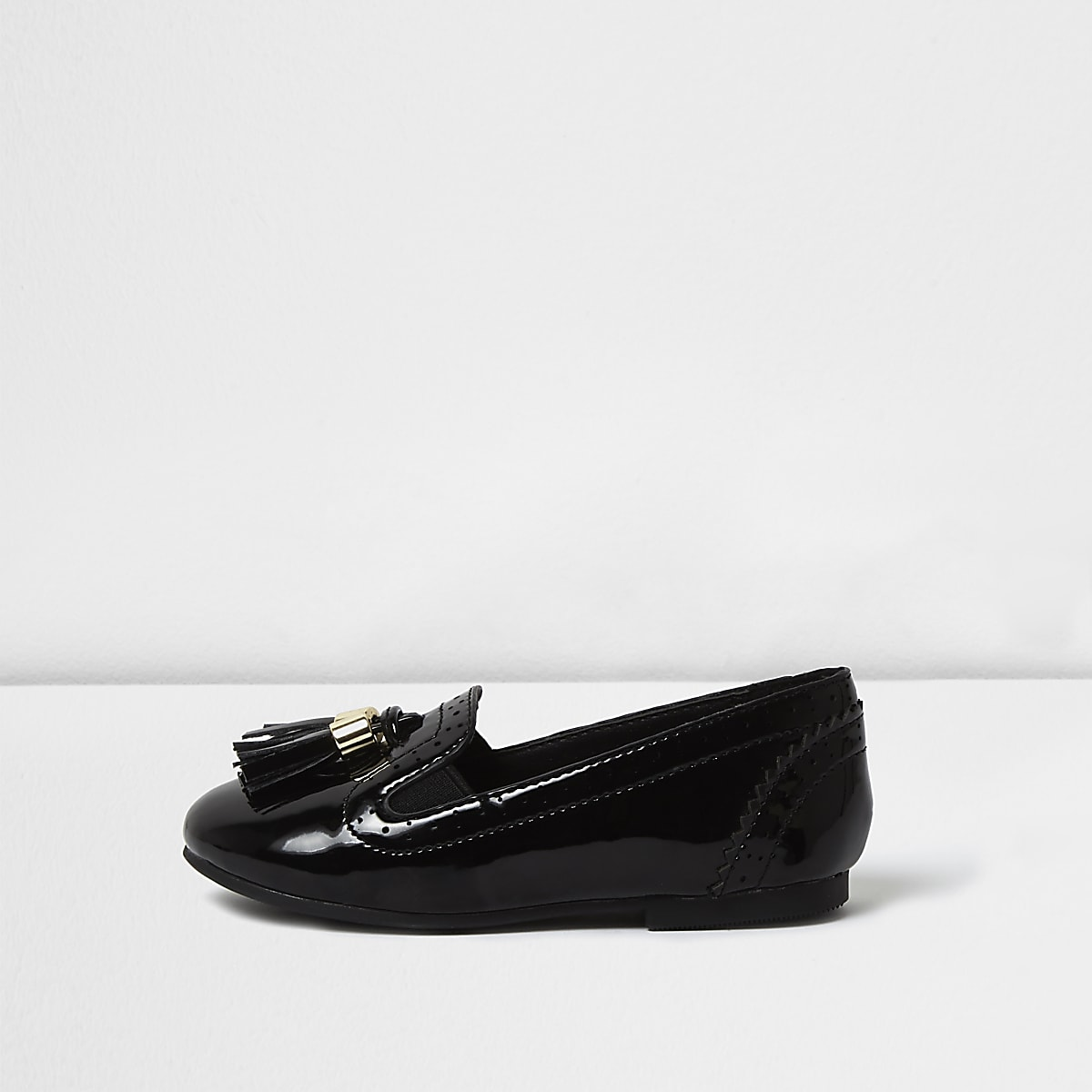 Mini girls black patent tassel brogue loafers