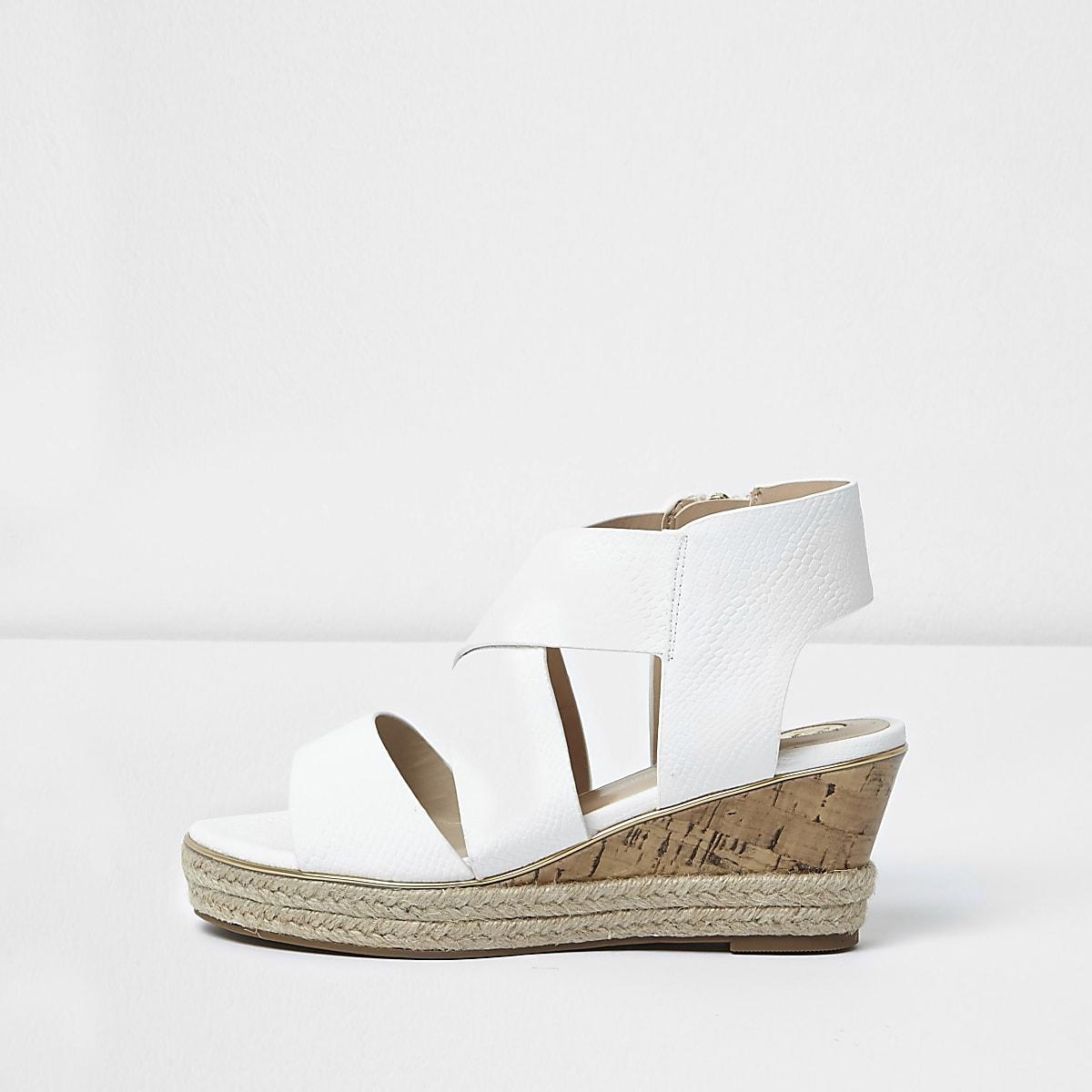 Girls White Cork Sandals Cork Wedge White Girls xQdWeCBro