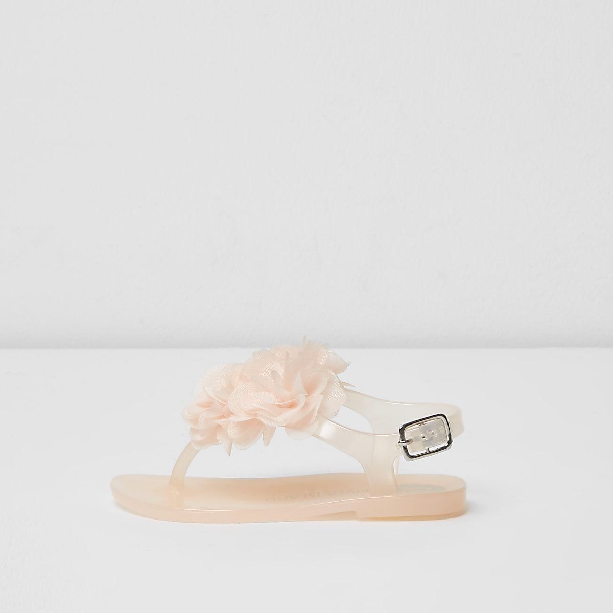 Mini girls light pink corsage jelly sandals