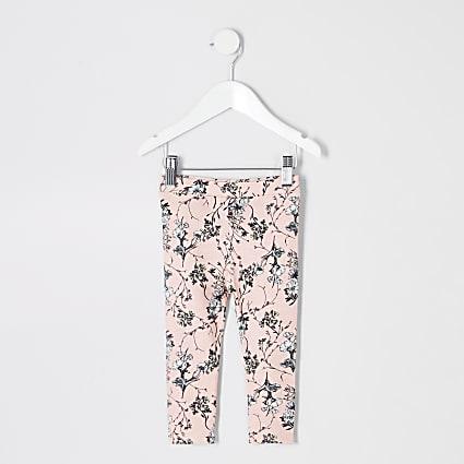 Mini girls pink floral leggings