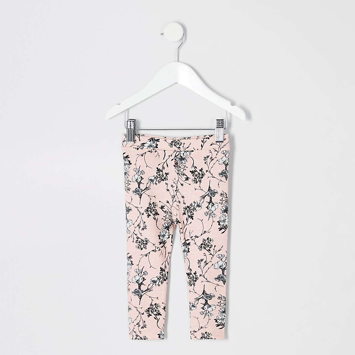 Mini girls pink floral leggings