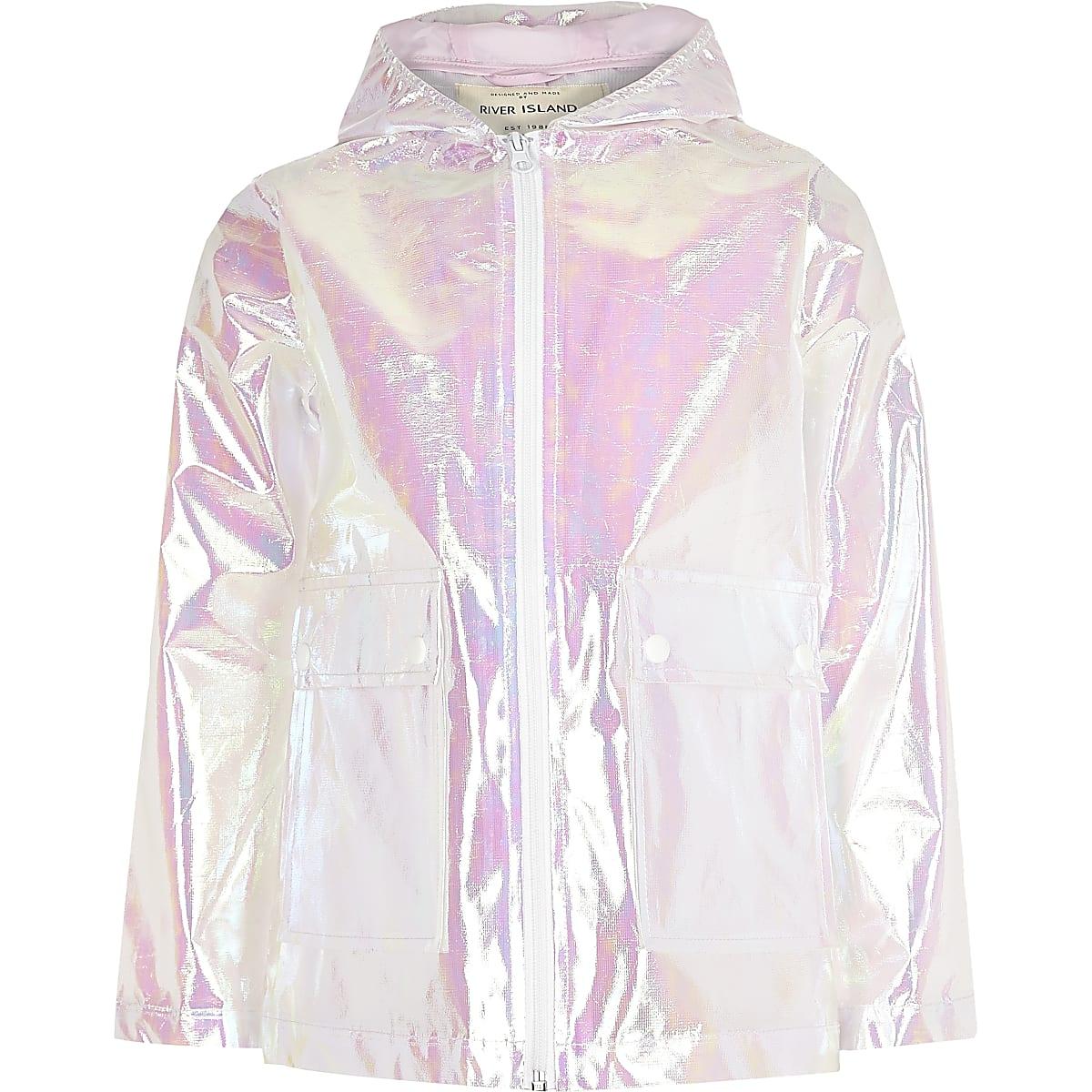 Girls white iridescent rain mac