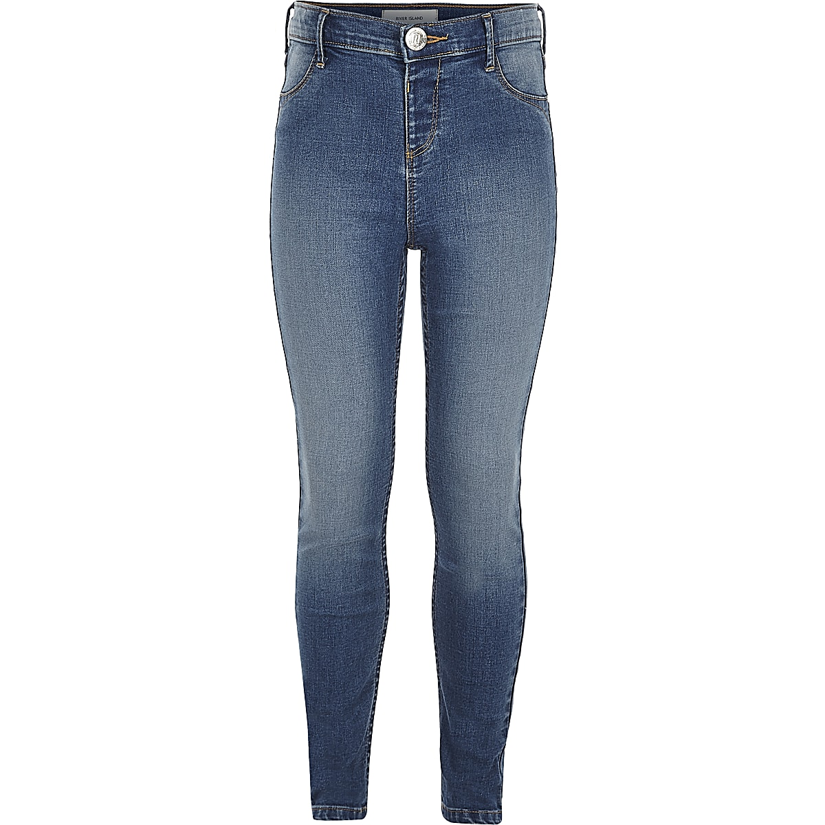Girls blue mid wash Molly jeggings