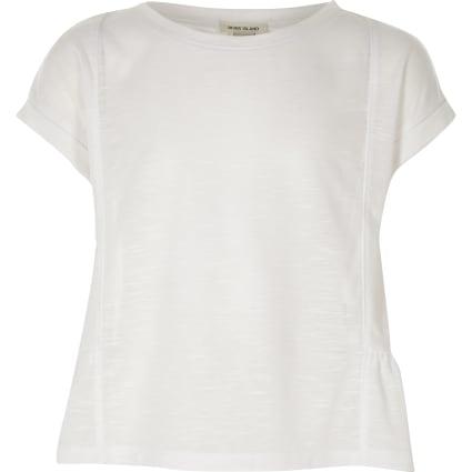 Girls white peplum T-shirt