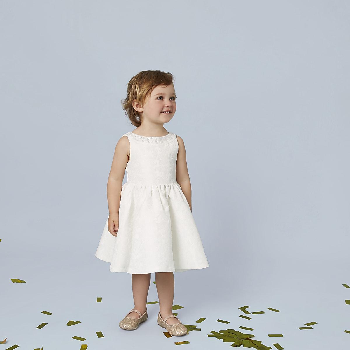618759a500b47 Mini girls cream jacquard flower girl dress - Baby Girls Dresses ...