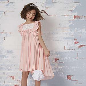 Roze geplooide kanten bruidsmeisjesjurk voor meisjes