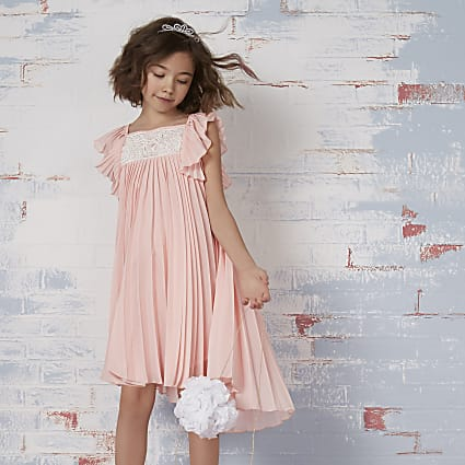 Girls pink pleated lace flower girl dress