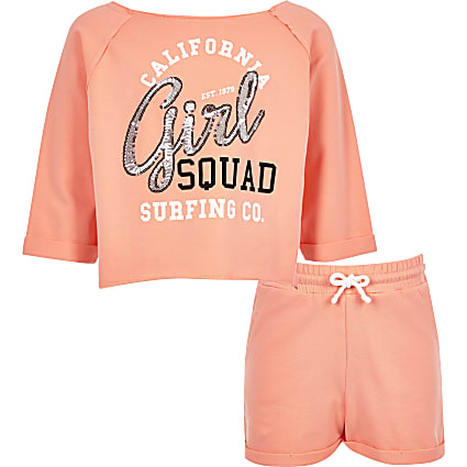 Girls pink sequin print sweatshirt outfit