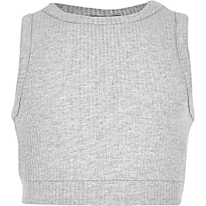 Girls grey marl ribbed crop top