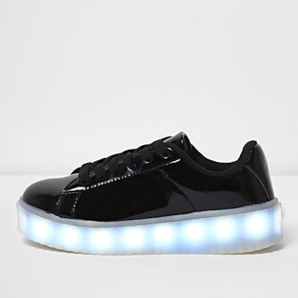 Girls black flashing light lace-up trainers