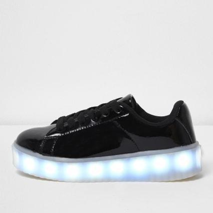 Girls black flashing light lace-up trainers