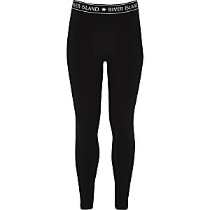Legging noir à logo RI pour fille