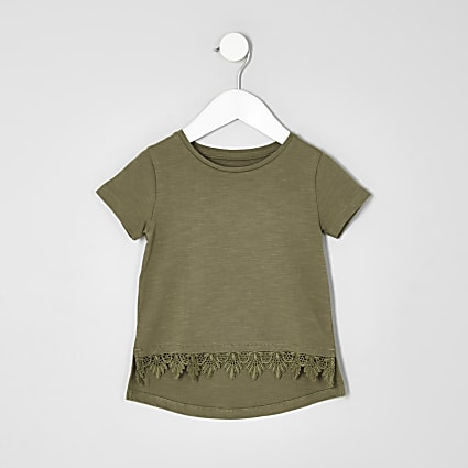Mini girls khaki green crochet hem T-shirt