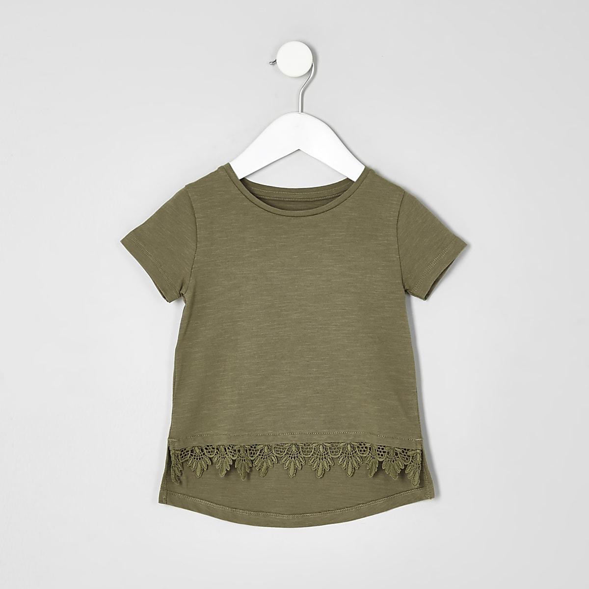 Mini girls khaki green crochet hem T-shirt