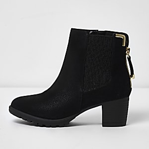8df7b4434e Girls black zipped block heel chelsea boots