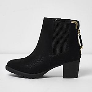 Zwarte chelsea boots met rits en blokhak voor meisjes
