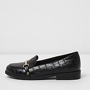 Girls black croc embossed snaffle loafers