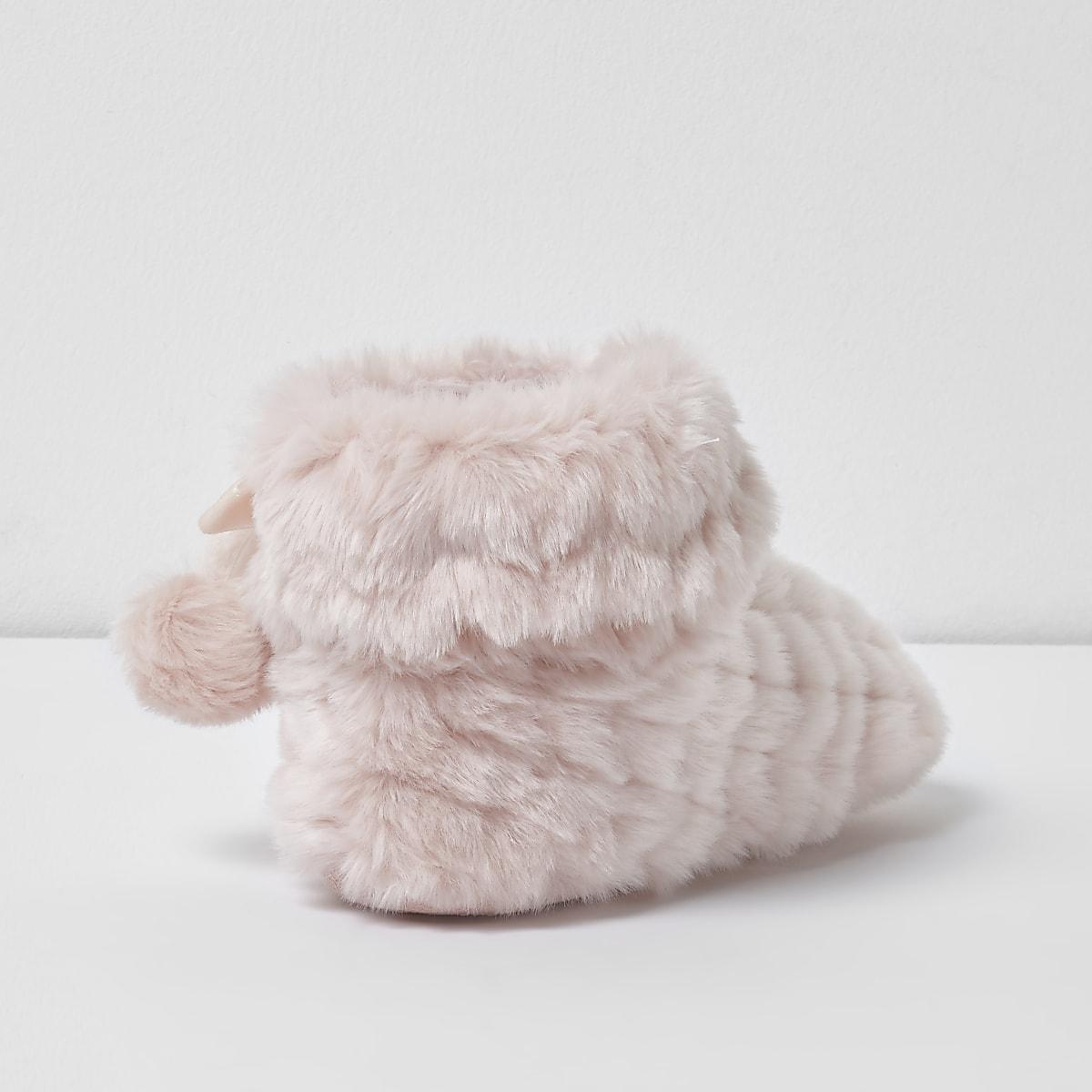 47bfeb0427f Girls pink fluffy pom pom bootie slippers - Slippers - Footwear - girls