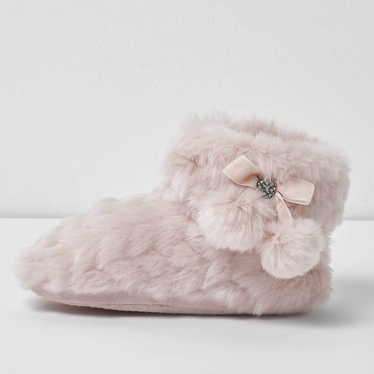Girls pink fluffy pom pom bootie slippers