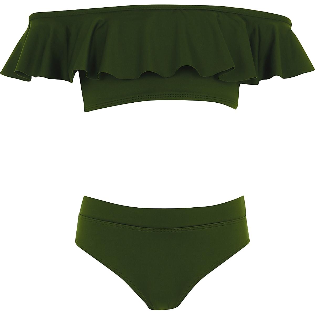 b080809d9431e Girls khaki green frill bardot bikini Girls khaki green frill bardot bikini  ...