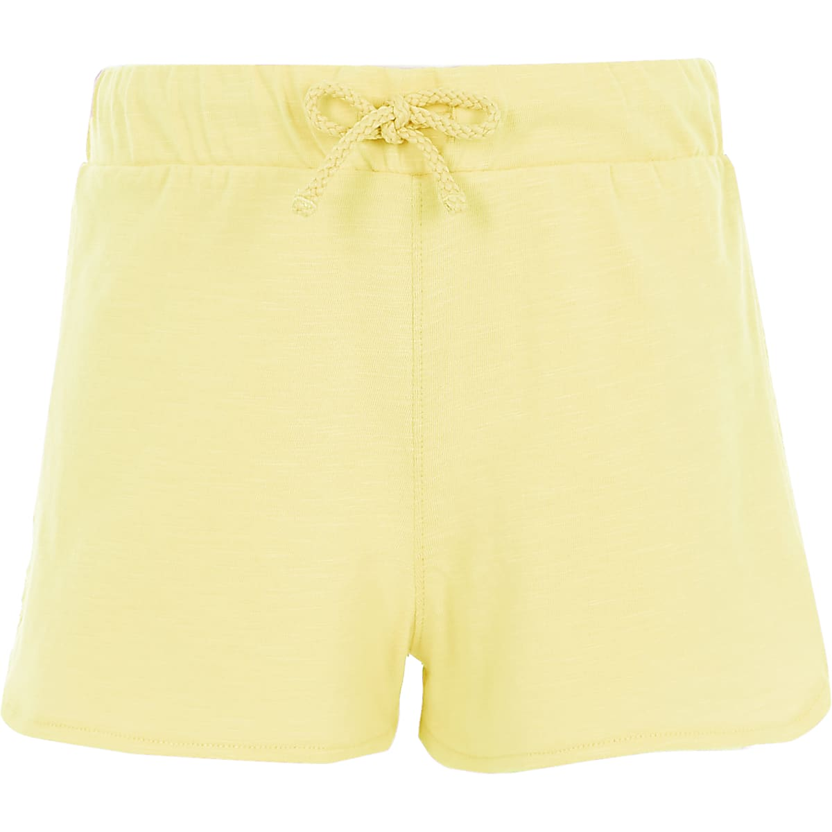 Girls yellow crochet side runner shorts