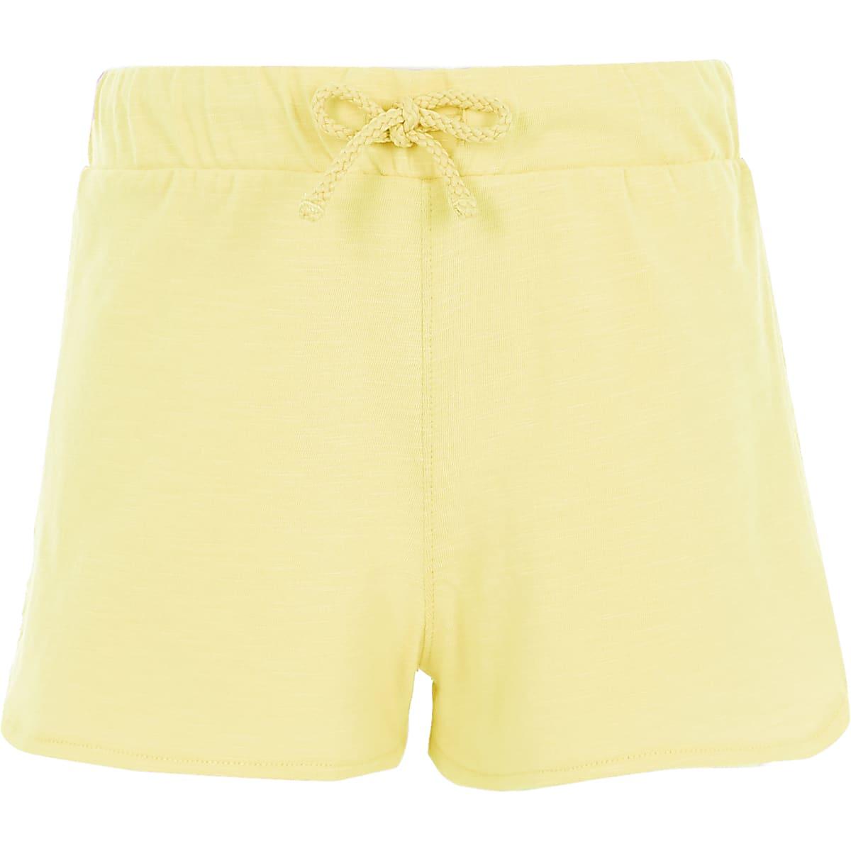 Girls yellow crochet side runner shorts