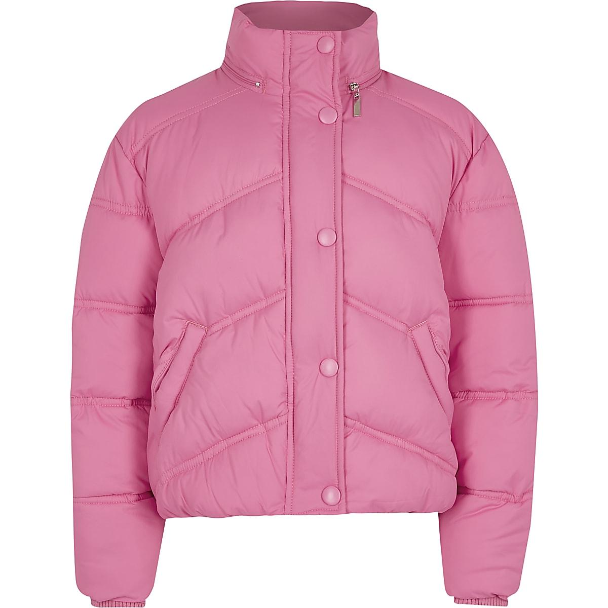 Girls pink funnel neck puffer jacket