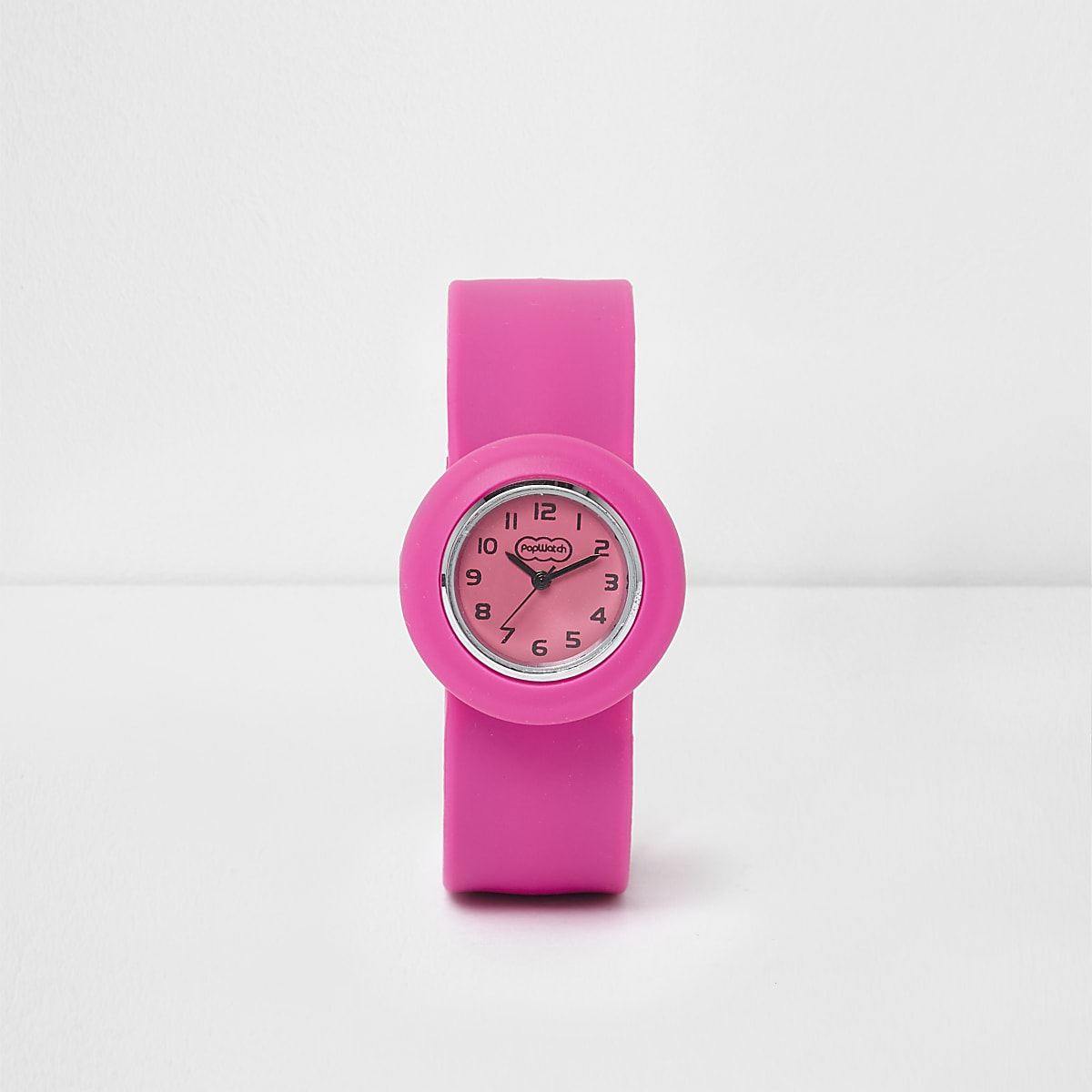 Girls pink snap on watch